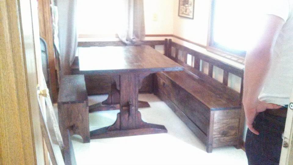 Trestle Table with Slat-Back