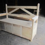 Sunrise Bench with Arms and Storage (unfinished pine)